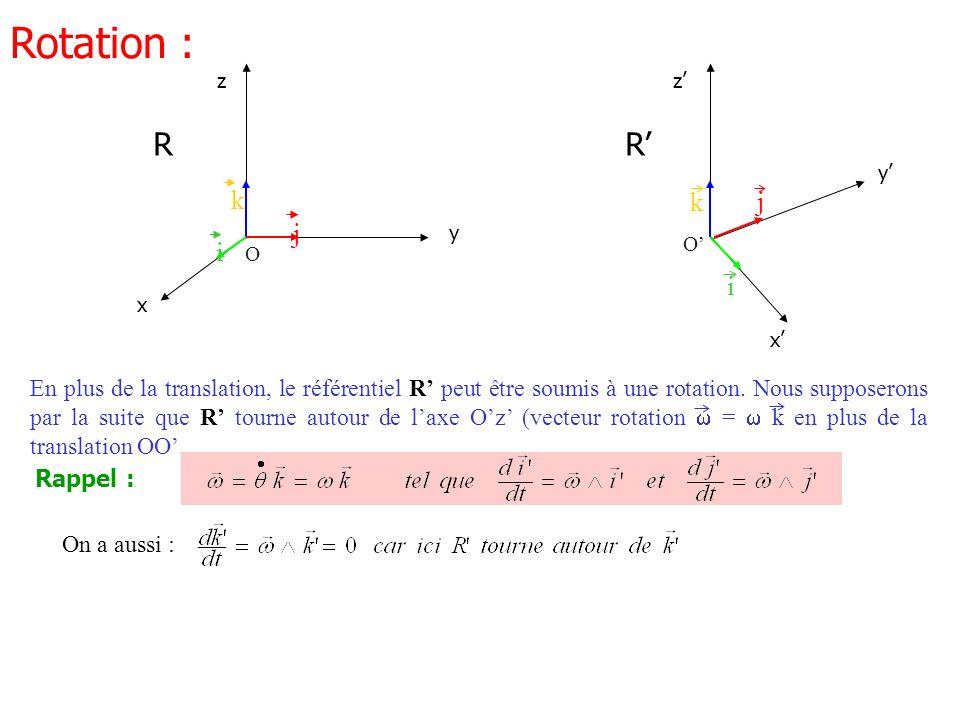 O j i k x y z R Rotation : En plus de la translation, le référentiel R peut être soumis à une rotation. Nous supposerons par la suite que R tourne aut