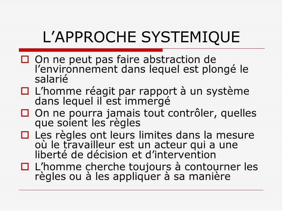 LAPPROCHE SYSTEMIQUE On ne peut pas faire abstraction de lenvironnement dans lequel est plongé le salarié Lhomme réagit par rapport à un système dans