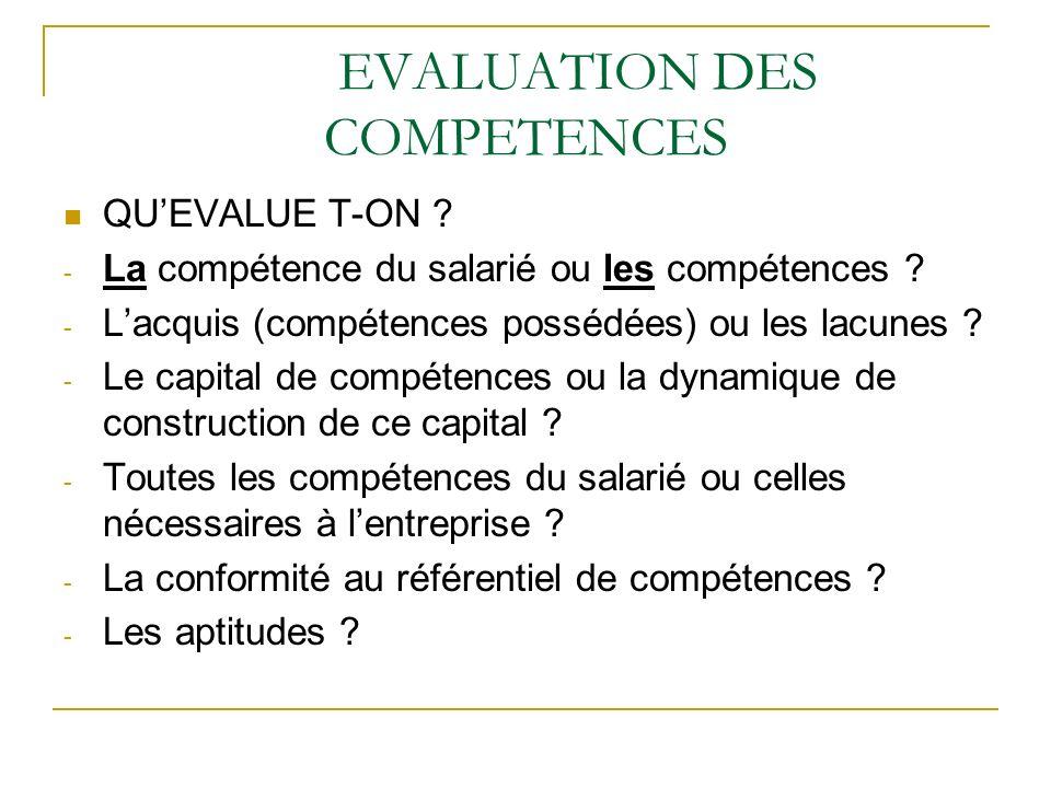 EVALUATION DES COMPETENCES QUEVALUE T-ON ? - La compétence du salarié ou les compétences ? - Lacquis (compétences possédées) ou les lacunes ? - Le cap