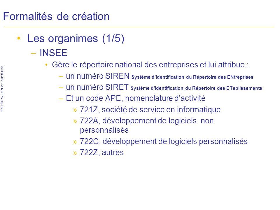 © 2006-2007 – Auteur : Nicolas Louis Formalités de création Les organimes (1/5) –INSEE Gère le répertoire national des entreprises et lui attribue : –