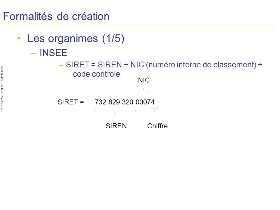 © 2006-2007 – Auteur : Nicolas Louis Formalités de création Les organimes (1/5) –INSEE –SIRET = SIREN + NIC (numéro interne de classement) + code controle 732 829 320 00074 SIREN NIC Chiffre SIRET =