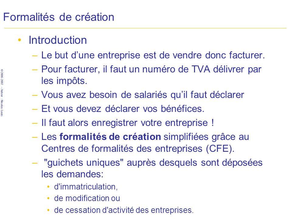 © 2006-2007 – Auteur : Nicolas Louis Formalités de création Introduction –Le but dune entreprise est de vendre donc facturer. –Pour facturer, il faut