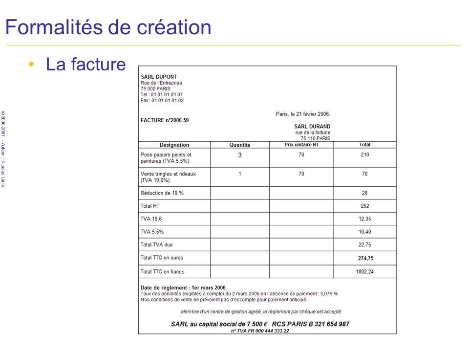 © 2006-2007 – Auteur : Nicolas Louis Formalités de création Roadmap (SARL) Business plan (Pacte d associés) Statuts Enregistr.