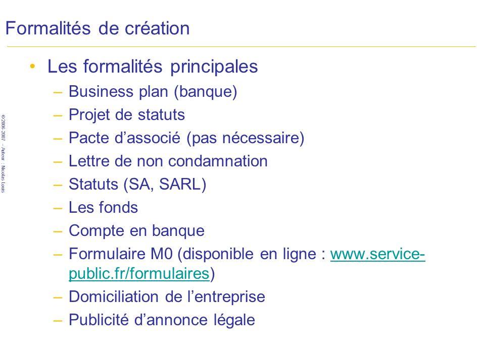 © 2006-2007 – Auteur : Nicolas Louis Formalités de création Les formalités principales –Business plan (banque) –Projet de statuts –Pacte dassocié (pas