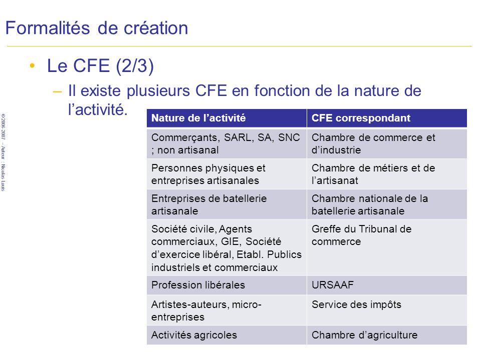 © 2006-2007 – Auteur : Nicolas Louis Formalités de création Le CFE (2/3) –Il existe plusieurs CFE en fonction de la nature de lactivité. Nature de lac