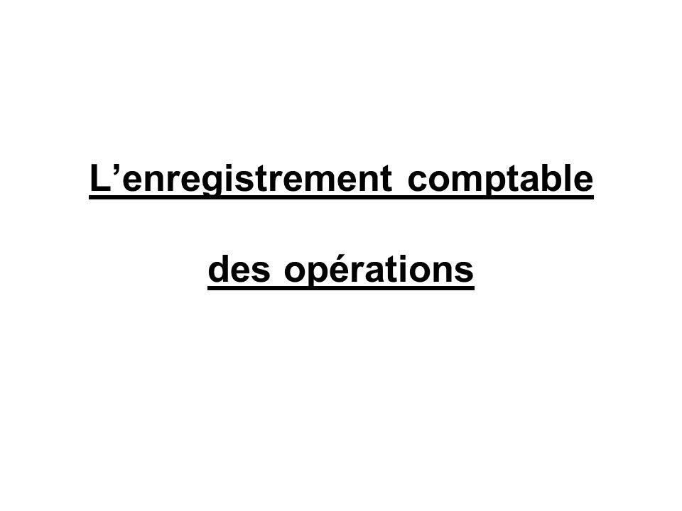 Lenregistrement comptable des opérations