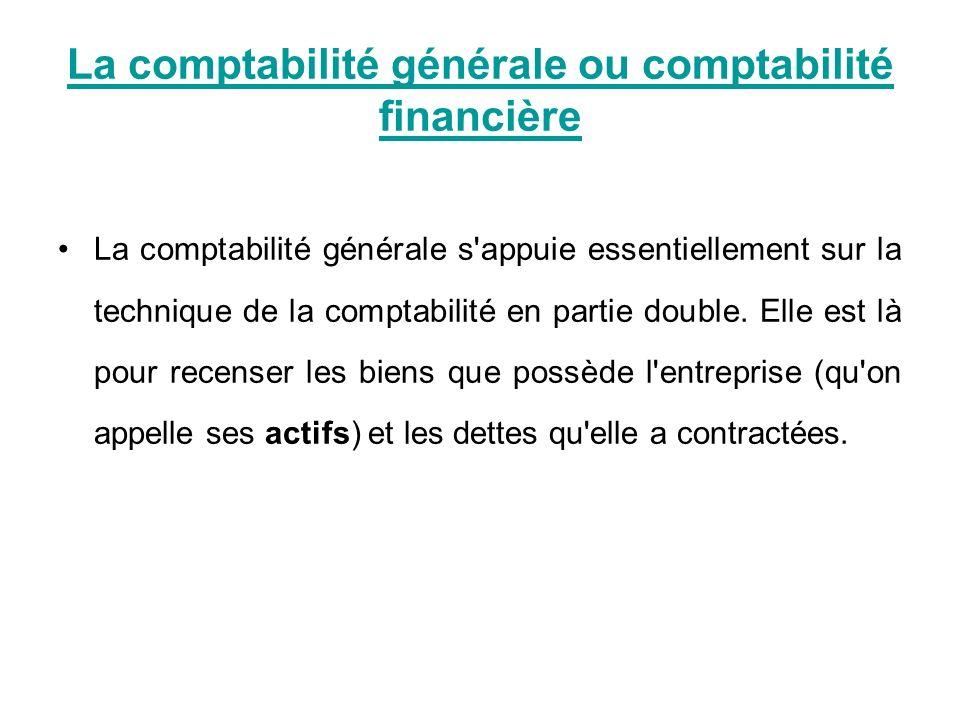 La comptabilité générale ou comptabilité financière La comptabilité générale s'appuie essentiellement sur la technique de la comptabilité en partie do