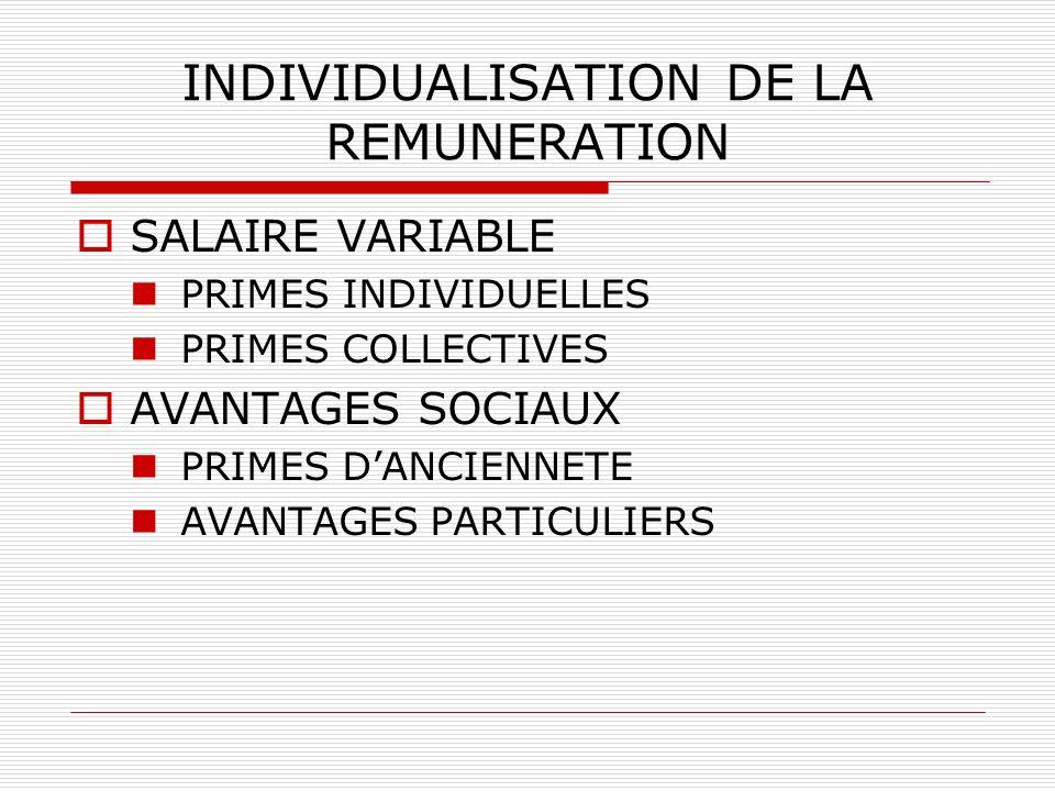INDIVIDUALISATION DE LA REMUNERATION SALAIRE VARIABLE PRIMES INDIVIDUELLES PRIMES COLLECTIVES AVANTAGES SOCIAUX PRIMES DANCIENNETE AVANTAGES PARTICULI