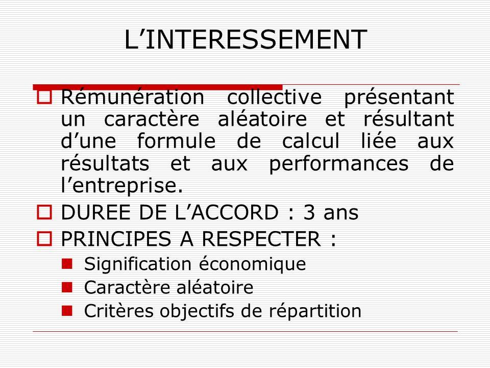 LINTERESSEMENT Rémunération collective présentant un caractère aléatoire et résultant dune formule de calcul liée aux résultats et aux performances de