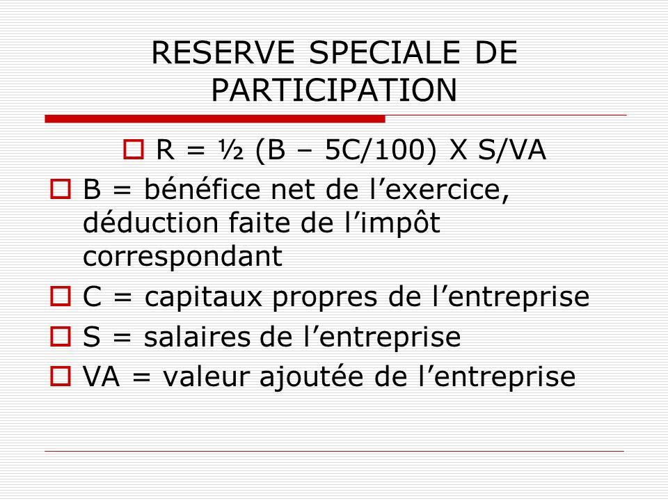 RESERVE SPECIALE DE PARTICIPATION R = ½ (B – 5C/100) X S/VA B = bénéfice net de lexercice, déduction faite de limpôt correspondant C = capitaux propre
