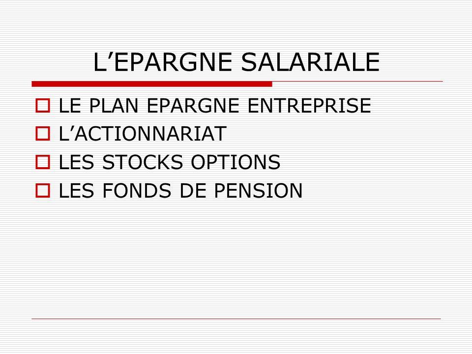 LEPARGNE SALARIALE LE PLAN EPARGNE ENTREPRISE LACTIONNARIAT LES STOCKS OPTIONS LES FONDS DE PENSION