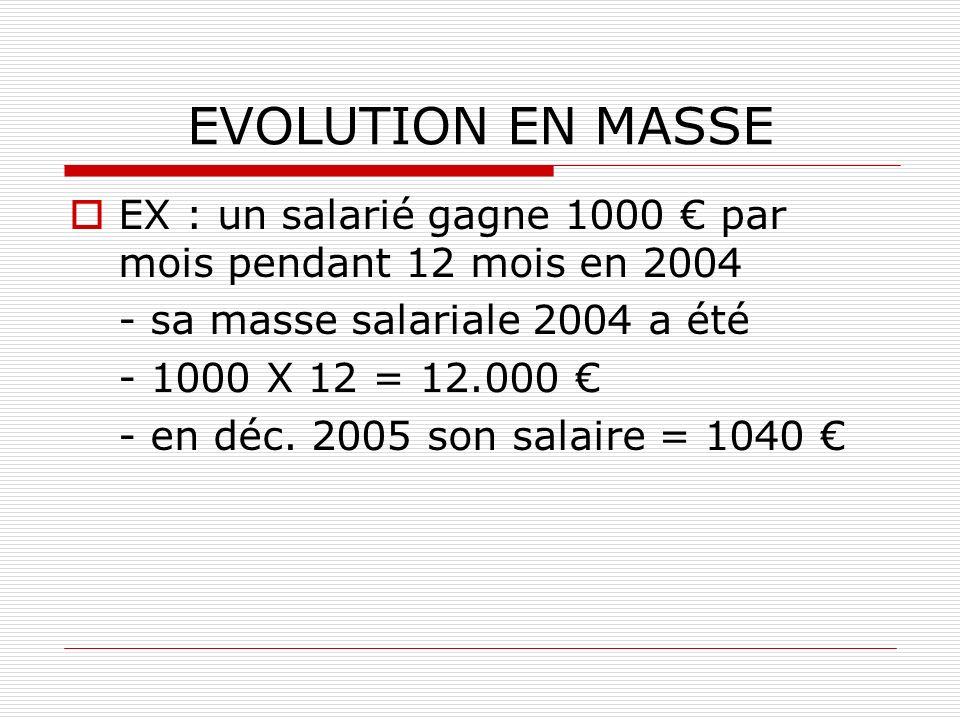 EVOLUTION EN MASSE EX : un salarié gagne 1000 par mois pendant 12 mois en 2004 - sa masse salariale 2004 a été - 1000 X 12 = 12.000 - en déc. 2005 son