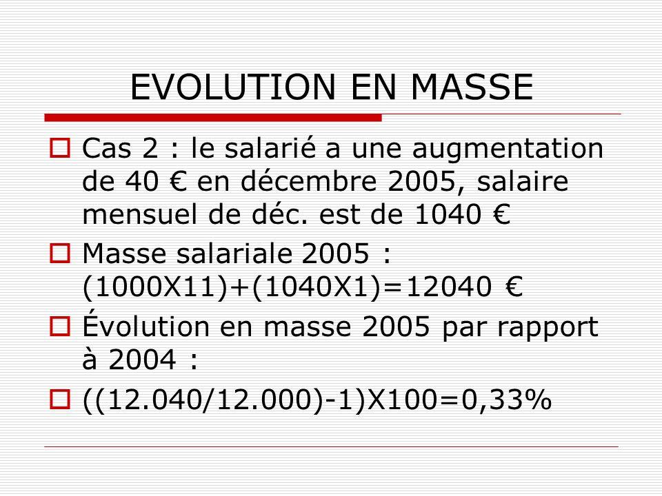 EVOLUTION EN MASSE Cas 2 : le salarié a une augmentation de 40 en décembre 2005, salaire mensuel de déc. est de 1040 Masse salariale 2005 : (1000X11)+