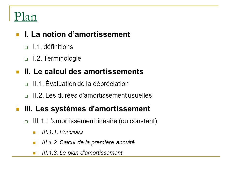 Plan I. La notion damortissement I.1. définitions I.2. Terminologie II. Le calcul des amortissements II.1. Évaluation de la dépréciation II.2. Les dur