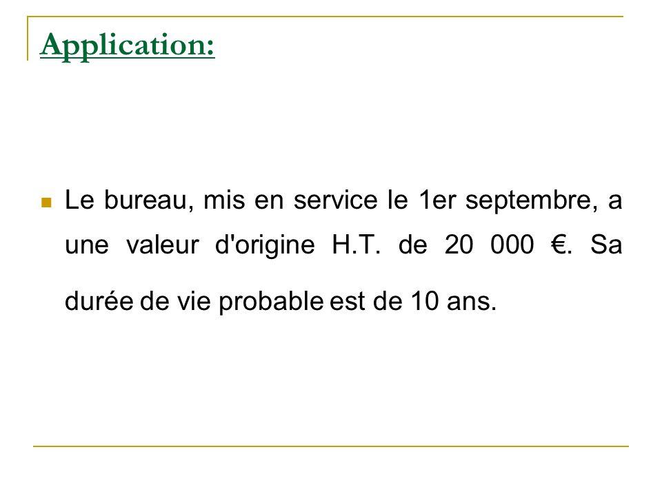 Application: Le bureau, mis en service le 1er septembre, a une valeur d'origine H.T. de 20 000. Sa durée de vie probable est de 10 ans.