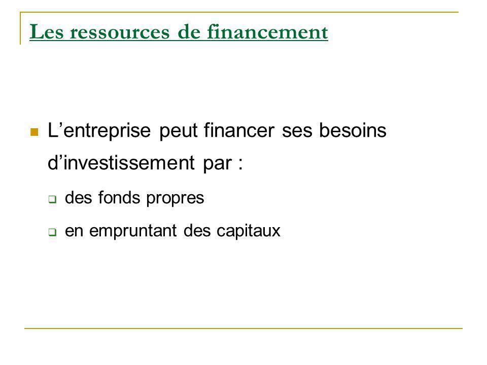 Les ressources de financement Lentreprise peut financer ses besoins dinvestissement par : des fonds propres en empruntant des capitaux