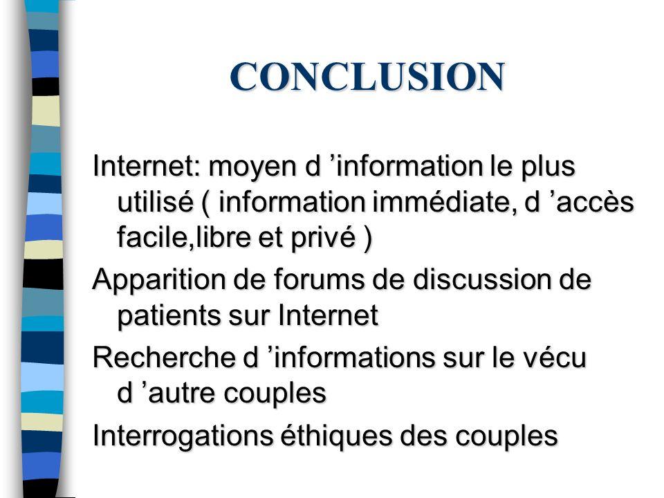 CONCLUSION Internet: moyen d information le plus utilisé ( information immédiate, d accès facile,libre et privé ) Apparition de forums de discussion d