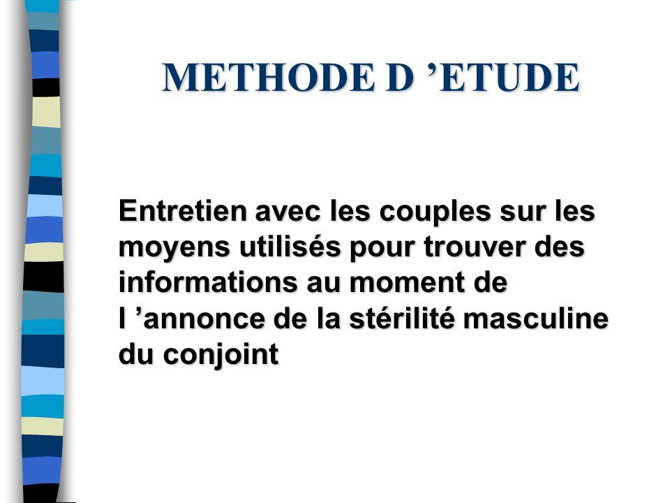 METHODE D ETUDE Entretien avec les couples sur les moyens utilisés pour trouver des informations au moment de l annonce de la stérilité masculine du c