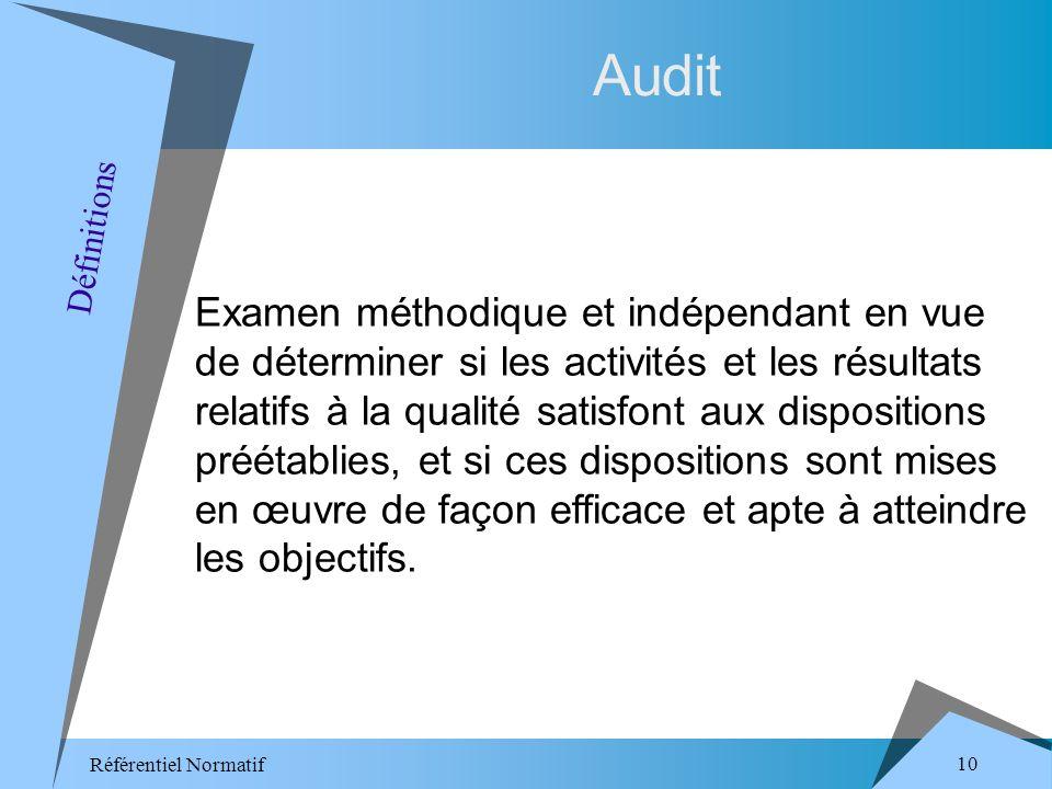 Référentiel Normatif 10 Audit Examen méthodique et indépendant en vue de déterminer si les activités et les résultats relatifs à la qualité satisfont aux dispositions préétablies, et si ces dispositions sont mises en œuvre de façon efficace et apte à atteindre les objectifs.