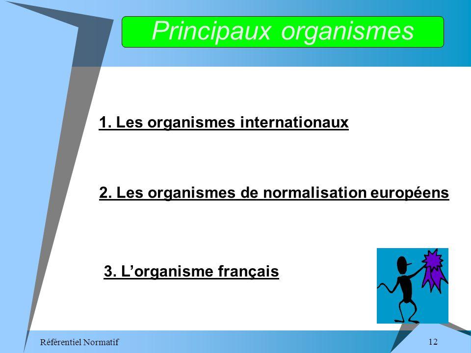 Référentiel Normatif 12 1. Les organismes internationaux 2.