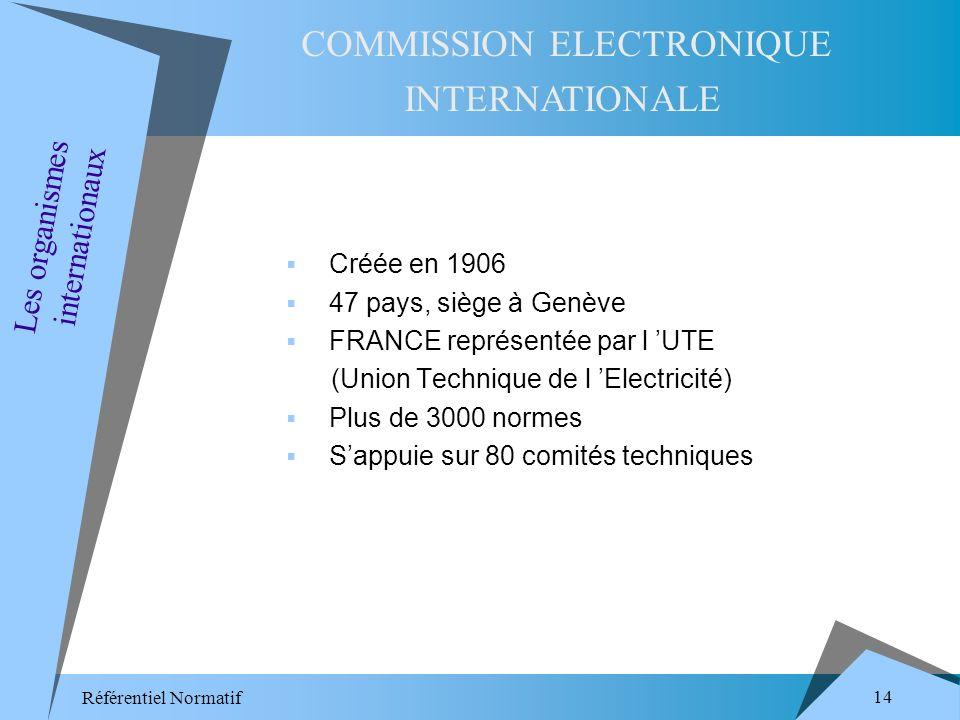 Référentiel Normatif 14 Créée en 1906 47 pays, siège à Genève FRANCE représentée par l UTE (Union Technique de l Electricité) Plus de 3000 normes Sappuie sur 80 comités techniques COMMISSION ELECTRONIQUE INTERNATIONALE Les organismes internationaux