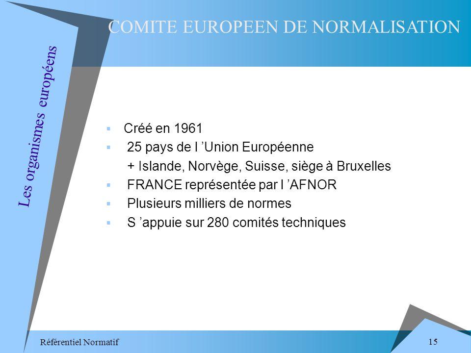 Référentiel Normatif 15 Créé en 1961 25 pays de l Union Européenne + Islande, Norvège, Suisse, siège à Bruxelles FRANCE représentée par l AFNOR Plusieurs milliers de normes S appuie sur 280 comités techniques COMITE EUROPEEN DE NORMALISATION Les organismes européens