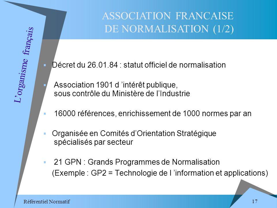 Référentiel Normatif 17 Décret du 26.01.84 : statut officiel de normalisation Association 1901 d intérêt publique, sous contrôle du Ministère de lIndustrie 16000 références, enrichissement de 1000 normes par an Organisée en Comités dOrientation Stratégique spécialisés par secteur 21 GPN : Grands Programmes de Normalisation (Exemple : GP2 = Technologie de l information et applications) ASSOCIATION FRANCAISE DE NORMALISATION (1/2) Lorganisme français