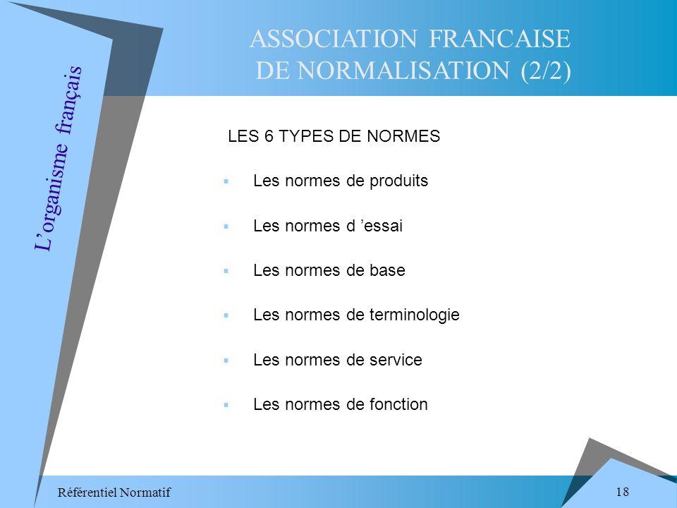 Référentiel Normatif 18 LES 6 TYPES DE NORMES Les normes de produits Les normes d essai Les normes de base Les normes de terminologie Les normes de service Les normes de fonction ASSOCIATION FRANCAISE DE NORMALISATION (2/2) Lorganisme français