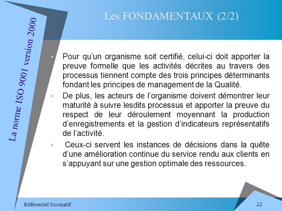Référentiel Normatif 22 Pour quun organisme soit certifié, celui-ci doit apporter la preuve formelle que les activités décrites au travers des processus tiennent compte des trois principes déterminants fondant les principes de management de la Qualité.