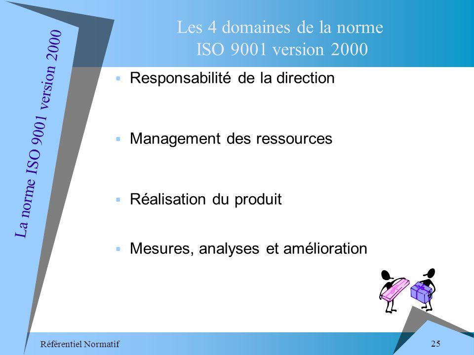 Référentiel Normatif 25 Responsabilité de la direction Management des ressources Réalisation du produit Mesures, analyses et amélioration Les 4 domaines de la norme ISO 9001 version 2000 La norme ISO 9001 version 2000