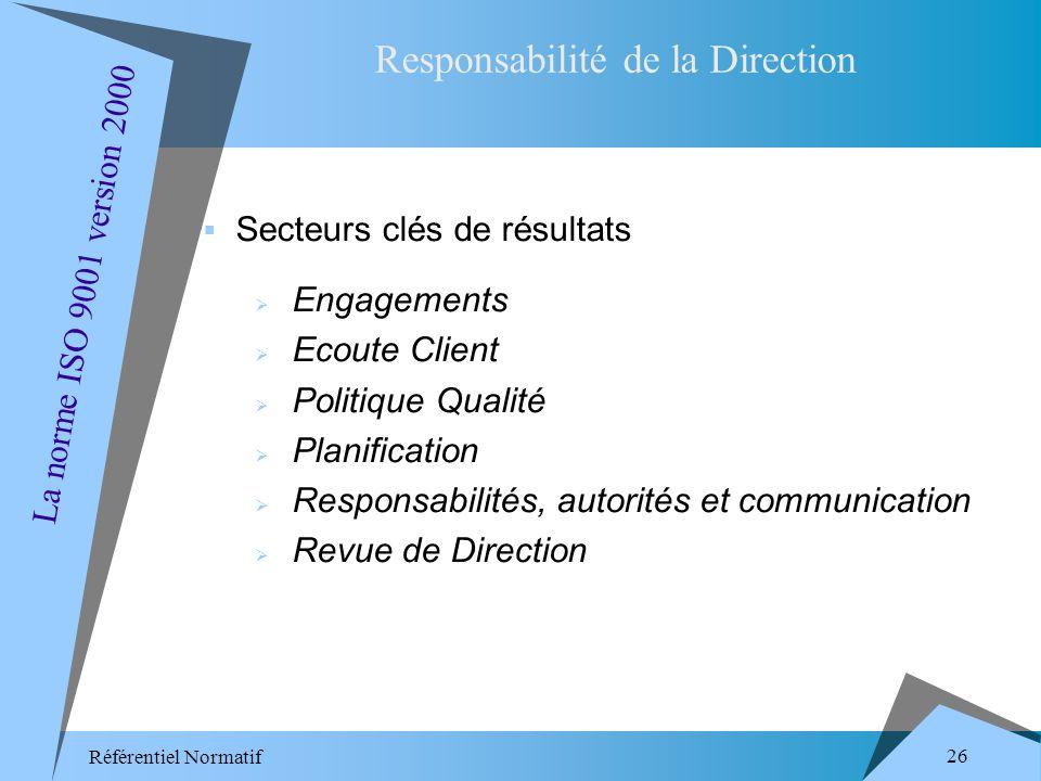Référentiel Normatif 26 Secteurs clés de résultats Engagements Ecoute Client Politique Qualité Planification Responsabilités, autorités et communication Revue de Direction Responsabilité de la Direction La norme ISO 9001 version 2000