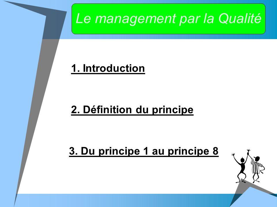 Le management par la Qualité 1. Introduction 2. Définition du principe 3.