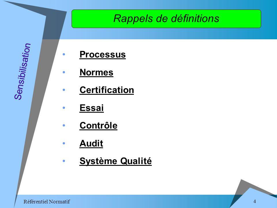 Référentiel Normatif 4 Rappels de définitions Processus Normes Certification Essai Contrôle Audit Système Qualité Sensibilisation