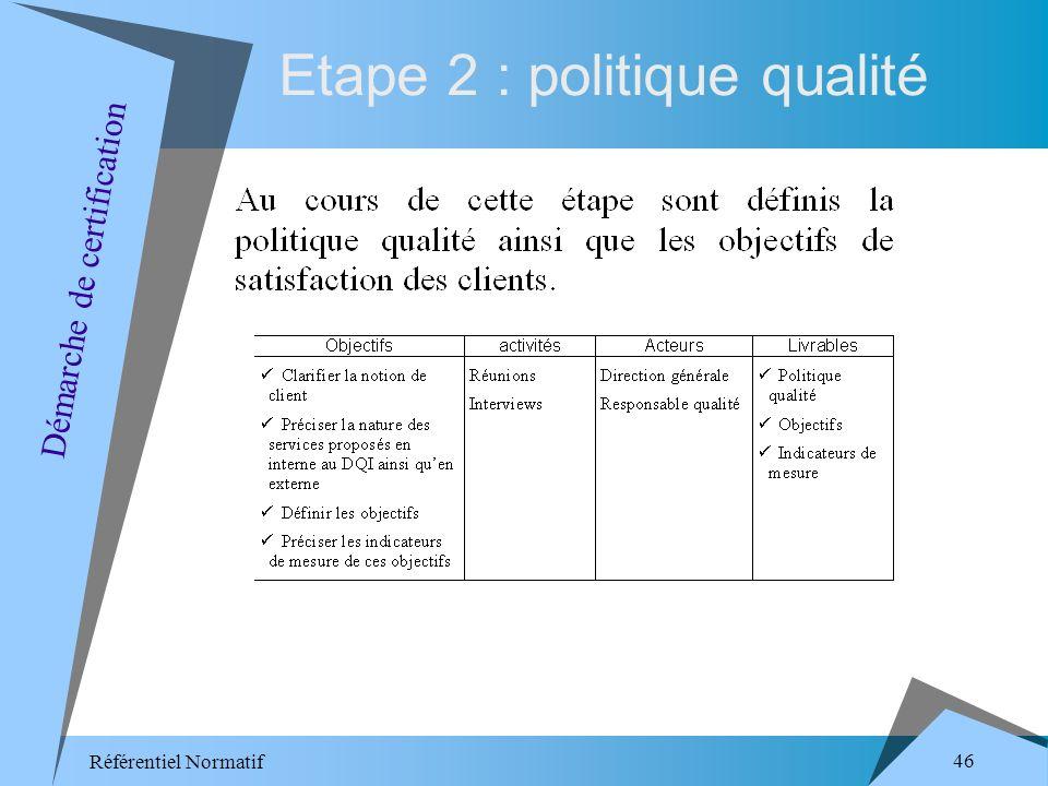 Référentiel Normatif 46 Etape 2 : politique qualité Démarche de certification