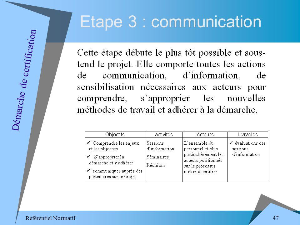 Référentiel Normatif 47 Etape 3 : communication Démarche de certification