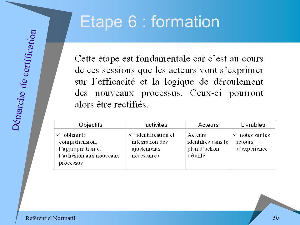 Référentiel Normatif 50 Etape 6 : formation Démarche de certification