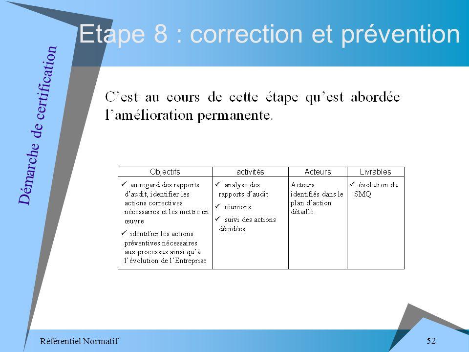 Référentiel Normatif 52 Etape 8 : correction et prévention Démarche de certification