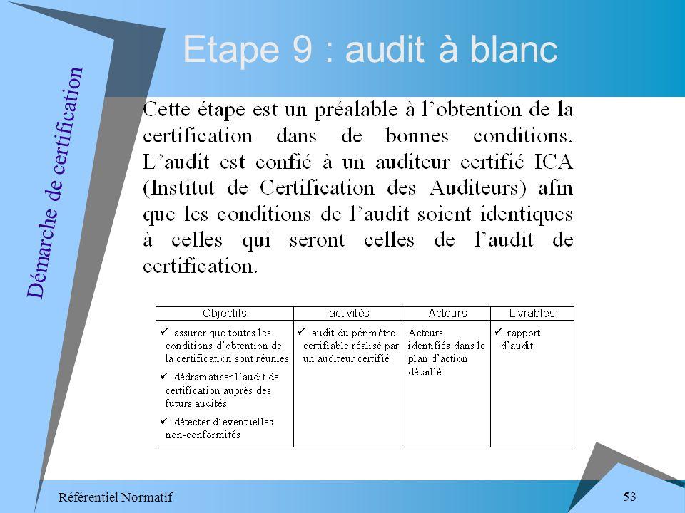 Référentiel Normatif 53 Etape 9 : audit à blanc Démarche de certification
