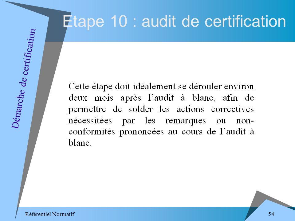 Référentiel Normatif 54 Etape 10 : audit de certification Démarche de certification