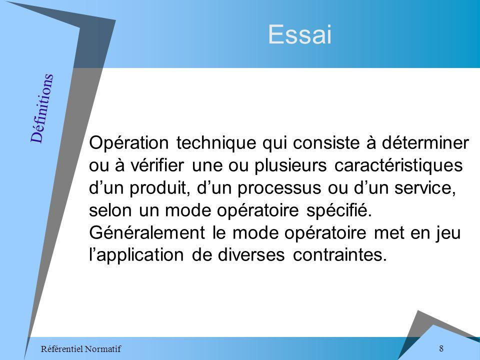 Référentiel Normatif 8 Essai Opération technique qui consiste à déterminer ou à vérifier une ou plusieurs caractéristiques dun produit, dun processus ou dun service, selon un mode opératoire spécifié.