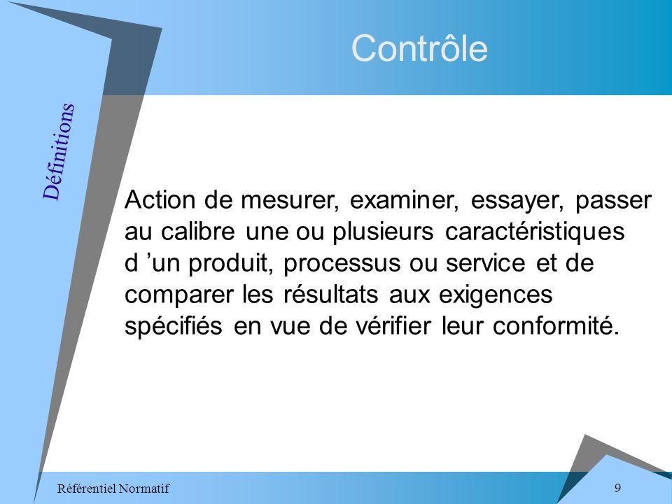 Référentiel Normatif 9 Contrôle Action de mesurer, examiner, essayer, passer au calibre une ou plusieurs caractéristiques d un produit, processus ou service et de comparer les résultats aux exigences spécifiés en vue de vérifier leur conformité.