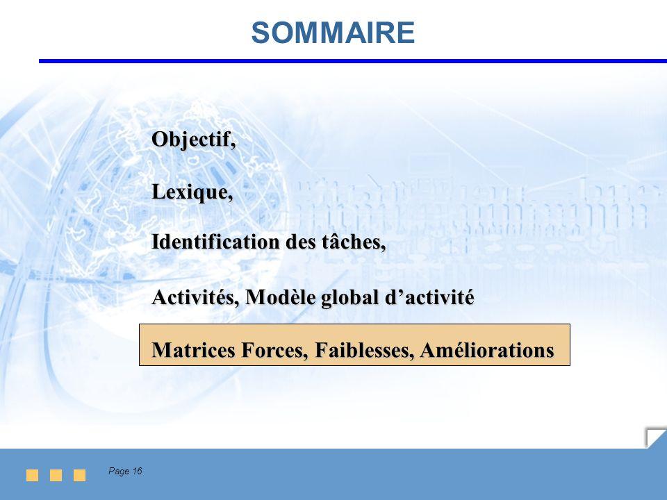 Page 16 SOMMAIRE Lexique, Identification des tâches, Activités, Modèle global dactivité Matrices Forces, Faiblesses, Améliorations Objectif,