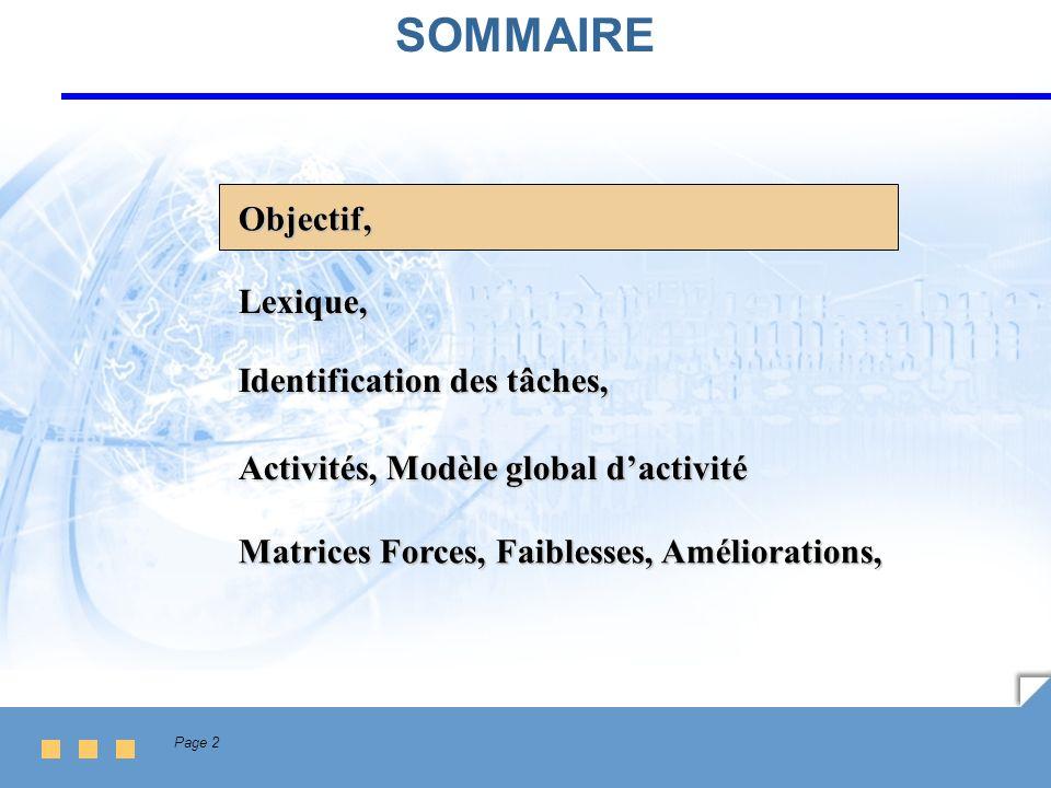 Page 2 SOMMAIRE Lexique, Identification des tâches, Activités, Modèle global dactivité Matrices Forces, Faiblesses, Améliorations, Objectif,