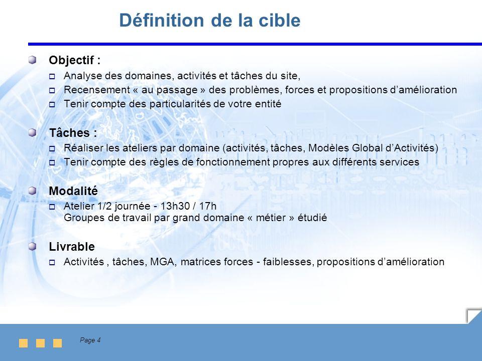 Page 4 Définition de la cible Objectif : Analyse des domaines, activités et tâches du site, Recensement « au passage » des problèmes, forces et propos