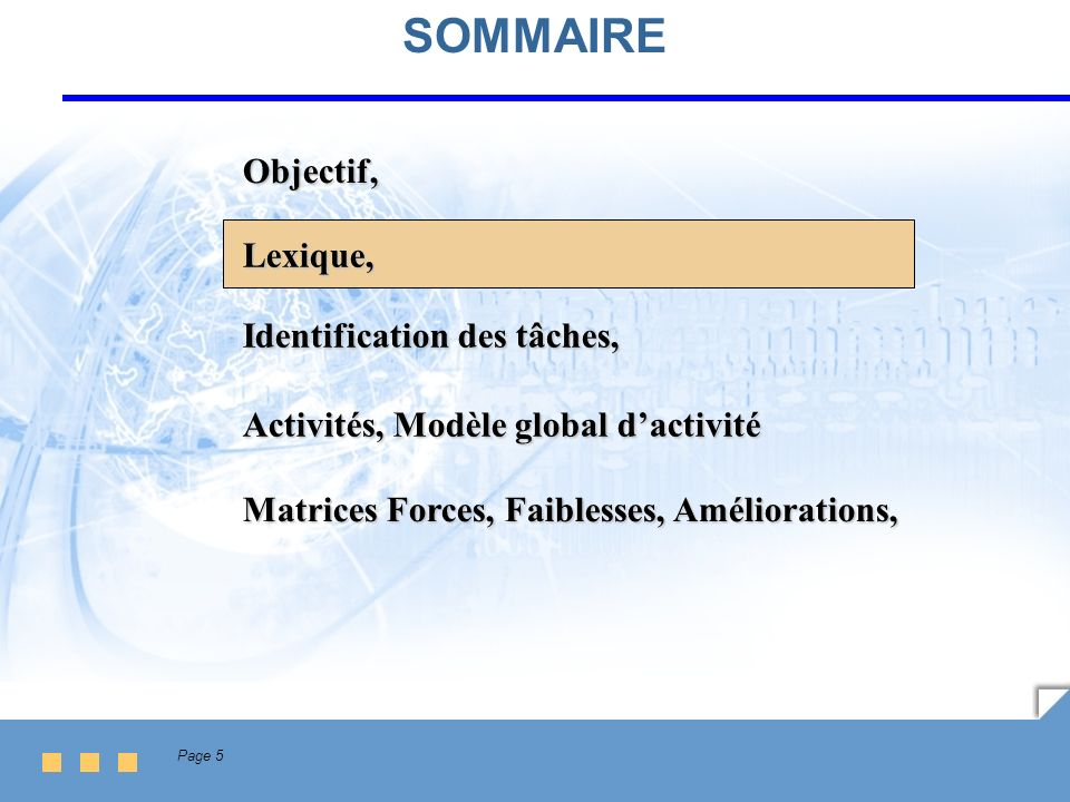 Page 6 Lexique Domaines (caractérisent les métiers de l entreprise) Domaine 3Domaine 2Domaine 1 Activités Tâches (opérations) Ressource (= entrées) Produit (= sorties) FournisseurClient 1 à n Tâche s (8 à 12) = processus