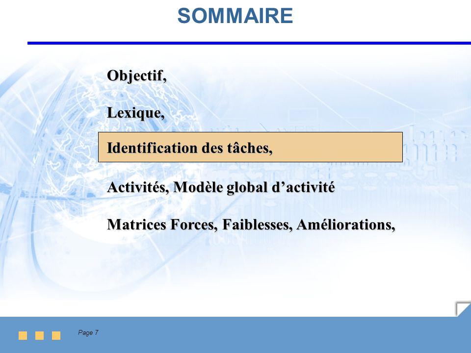 Page 7 SOMMAIRE Lexique, Identification des tâches, Activités, Modèle global dactivité Matrices Forces, Faiblesses, Améliorations, Objectif,