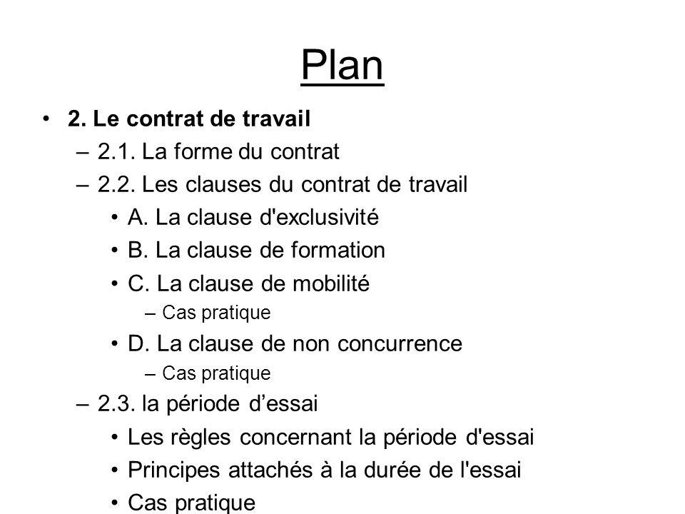 Plan 2. Le contrat de travail –2.1. La forme du contrat –2.2. Les clauses du contrat de travail A. La clause d'exclusivité B. La clause de formation C