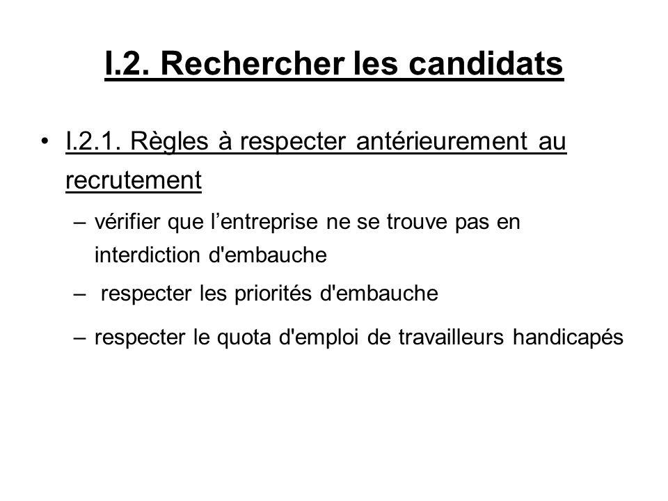 I.2. Rechercher les candidats I.2.1. Règles à respecter antérieurement au recrutement –vérifier que lentreprise ne se trouve pas en interdiction d'emb