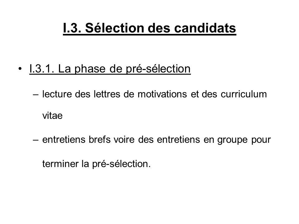 I.3. Sélection des candidats I.3.1. La phase de pré-sélection –lecture des lettres de motivations et des curriculum vitae –entretiens brefs voire des