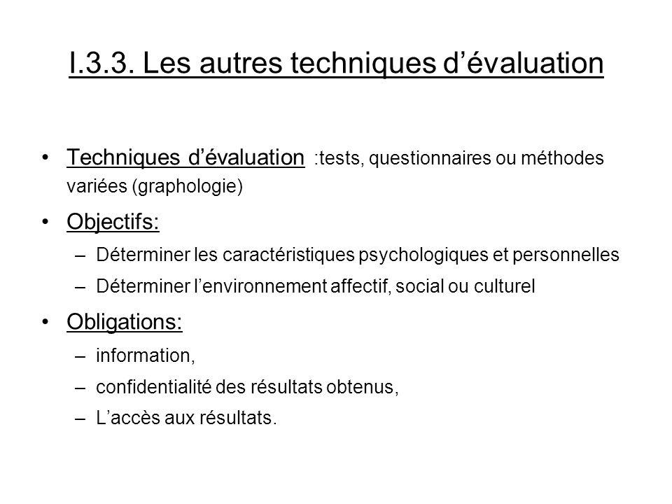 I.3.3. Les autres techniques dévaluation Techniques dévaluation :tests, questionnaires ou méthodes variées (graphologie) Objectifs: –Déterminer les ca